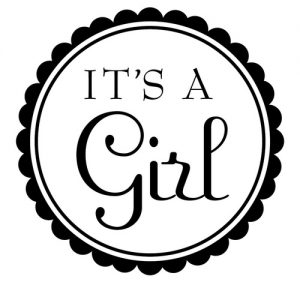 """It's a Girl"" Stamp – Three Designing Women"