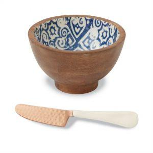 Ikat Bungalow Wood & Enamel Dip Bowl Set – Mudpie