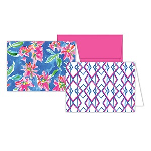Hot Pink and Blue Floral Note Combos – Roseanne Beck