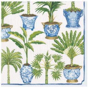 Potted Palms Paper Dinner Napkins in White – Caspari