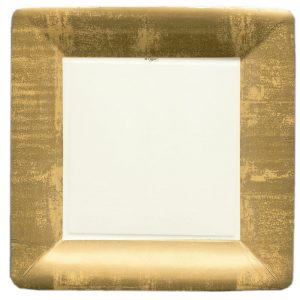 Gold Leaf Square Paper Dinner Plates – Caspari