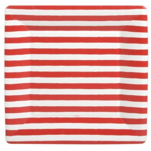 Red and White Stripe Square Paper Dinner Plates – Caspari