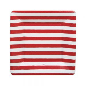 Red and White Stripe Square Paper Salad & Dessert Plates – Caspari