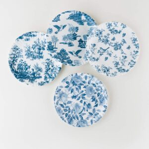 Blue and White Melamine Plate (Set of 4)