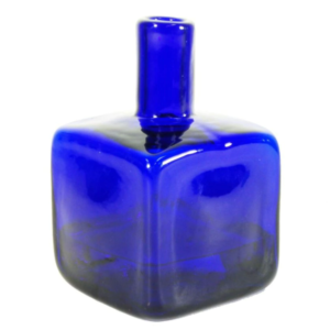 Blenko Glass Block Bud Vase – Cobalt Blue