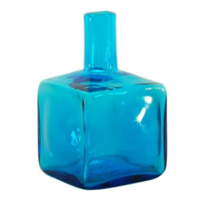 Blenko Glass Block Bud Vase – Turquoise